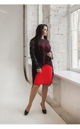 Платье с гипюровой накидкой 11120ДМ