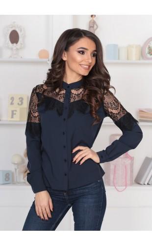 Блузка нарядная с вставками из черного гипюра (ресничка) 116Y
